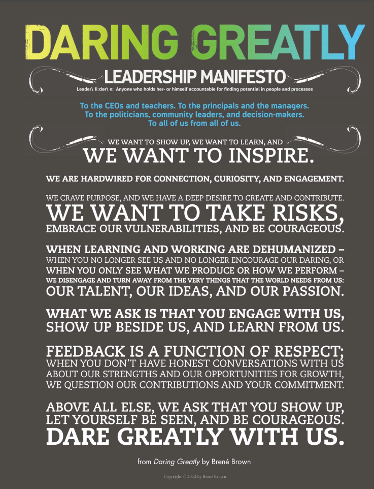 Daring greatly leadership poster
